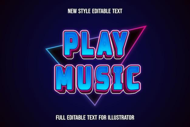 Efeito de texto tocar música cor gradiente de azul e rosa