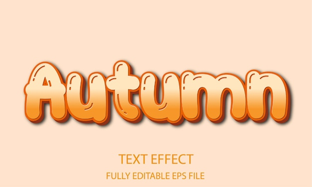 Efeito de texto totalmente editável de outono