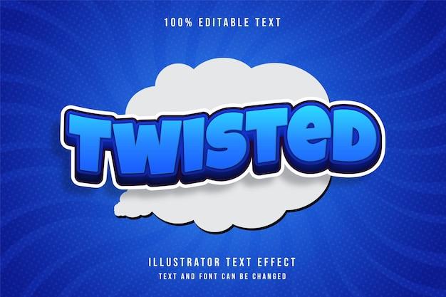 Efeito de texto trançado e editável em 3d com efeito de gradação azul