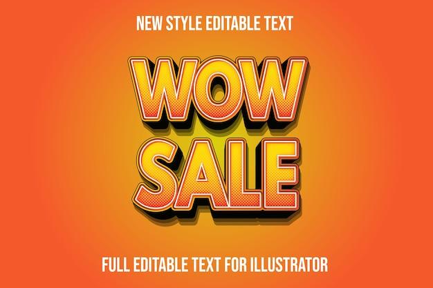 Efeito de texto uau venda cor laranja e gradiente preto