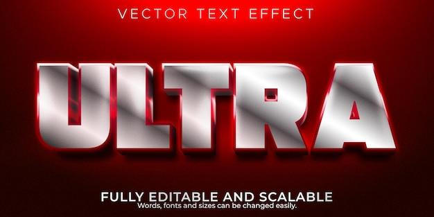 Efeito de texto ultra metálico, estilo de texto editável brilhante e gamer