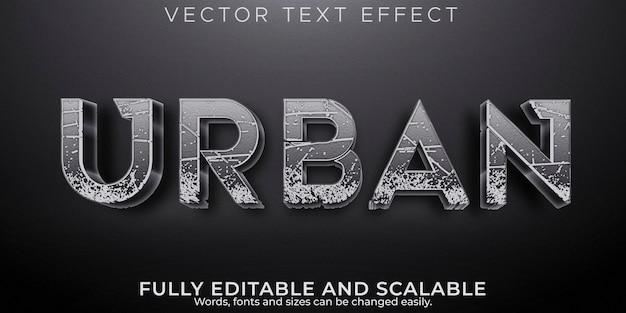 Efeito de texto urbano, rua editável e estilo de texto de construção