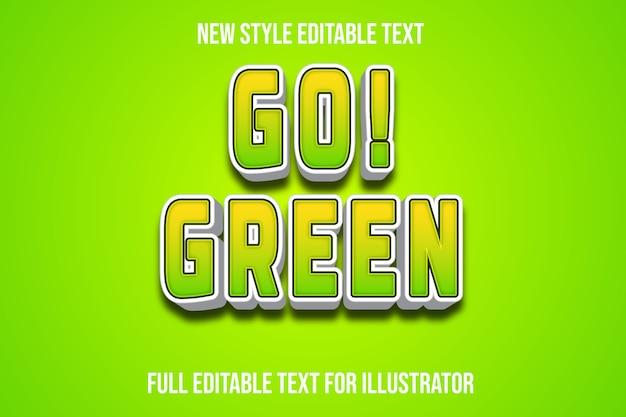 Efeito de texto, vá! gradiente de cor verde verde e branco