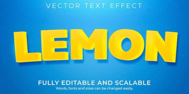 Efeito de texto vegetal e limão editável com texto fresco e comidas