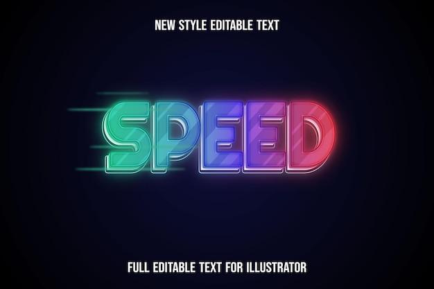 Efeito de texto velocidade 3d, cor verde e roxo, gradiente laranja