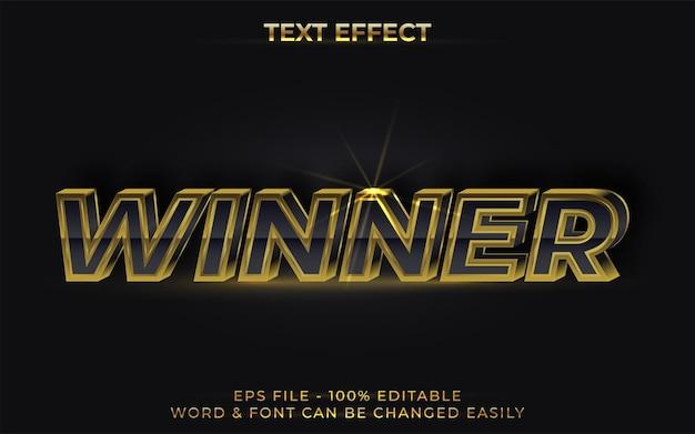 Efeito de texto vencedor estilo ouro preto efeito de texto editável