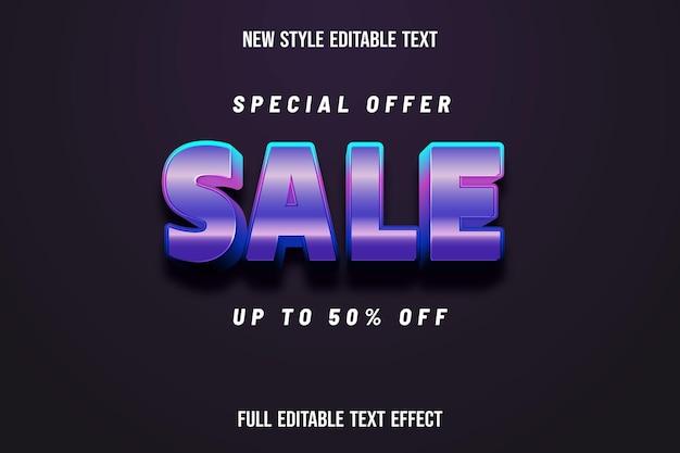 Efeito de texto venda 3d cor rosa e roxo