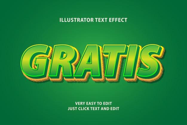 Efeito de texto verde amarelo verde, texto editável