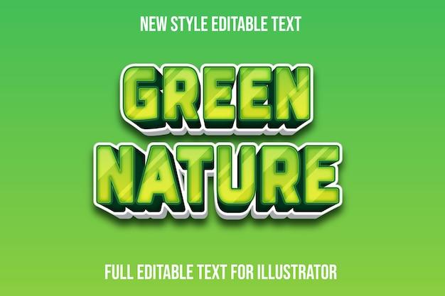 Efeito de texto verde cor da natureza gradiente verde e branco