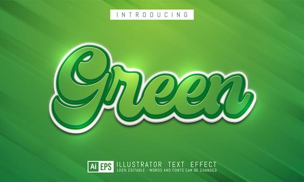Efeito de texto verde, estilo de texto editável de três dimensões