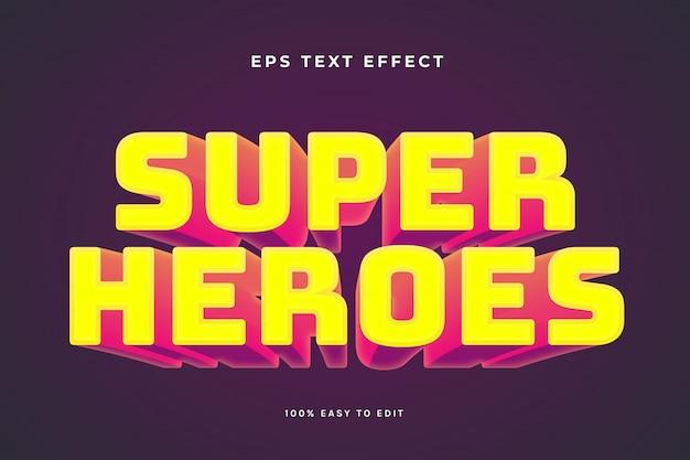 Efeito de texto vermelho amarelo de super-heróis