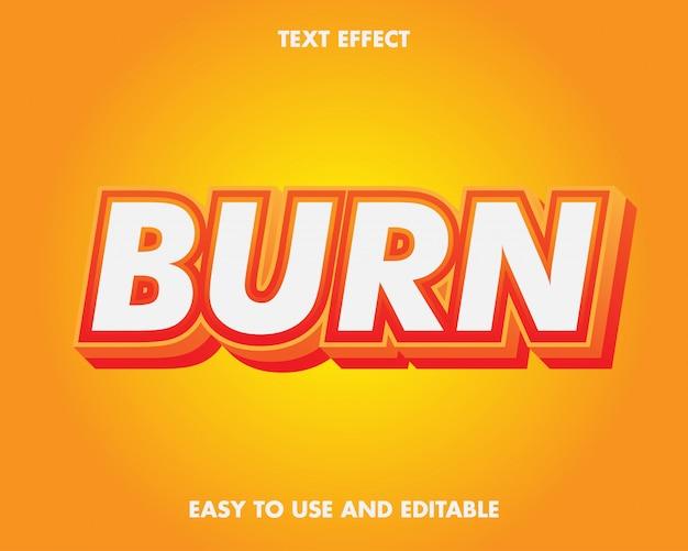 Efeito de texto vermelho de queimadura 3d.
