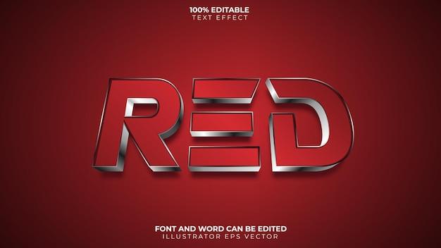 Efeito de texto vermelho e brilhante prateado para esport