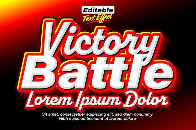 Efeito de texto vermelho flamejante da batalha da vitória