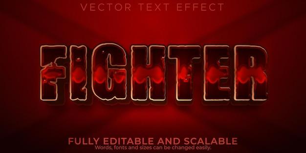 Efeito de texto vermelho lutador, espada editável e estilo de texto sparta