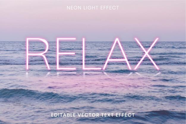 Efeito de texto vetorial editável de palavra neon rosa relax