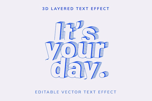 Efeito de texto vetorial editável em camadas 3d