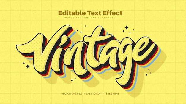 Efeito de texto vintage amarelo