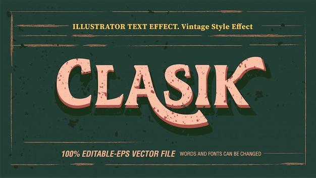 Efeito de texto vintage clássico editável com textura grunge