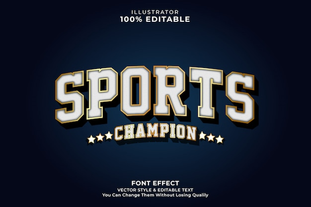 Efeito de texto vintage do esporte