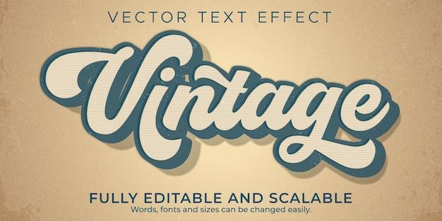 Efeito de texto vintage editável retro e estilo de texto antigo