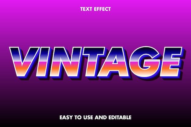 Efeito de texto vintage. estilo de fonte editável.