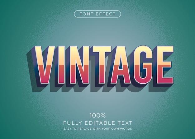Efeito de texto vintage. estilo de fonte