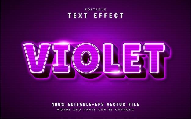 Efeito de texto violeta com padrão de listras