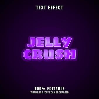 Efeito de texto violeta gelatinoso engraçado, perfeito para o logotipo do seu jogo