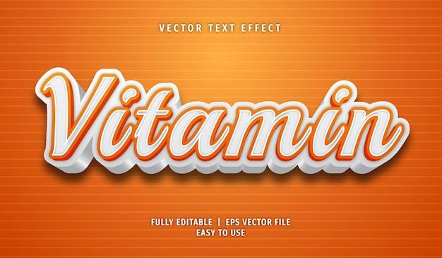Efeito de texto vitamínico, estilo de texto editável
