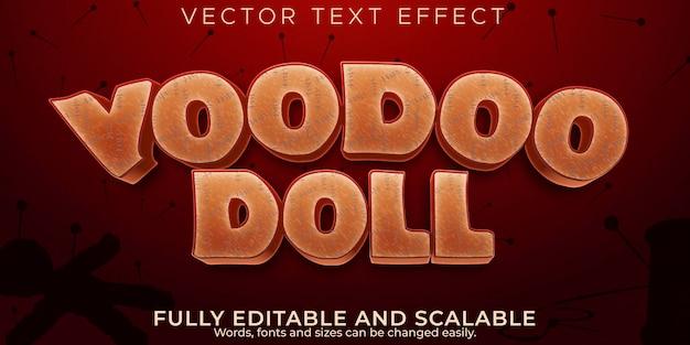 Efeito de texto vodu de halloween, estilo de texto editável de assustador e bruxa