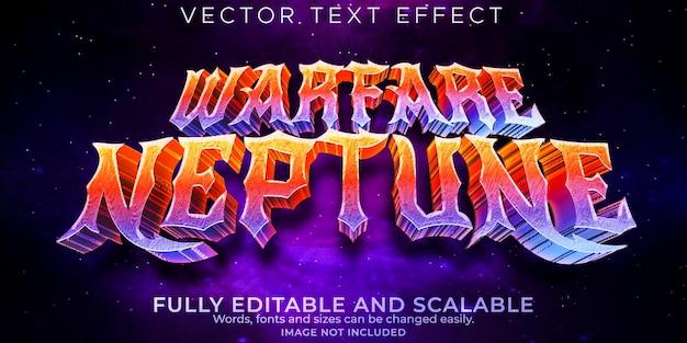 Efeito de texto warfare netuno, jogos editáveis e estilo de texto espacial