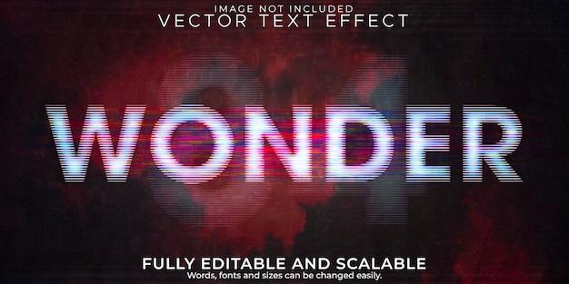 Efeito de texto wonder cinema, retro editável e estilo de texto glitch