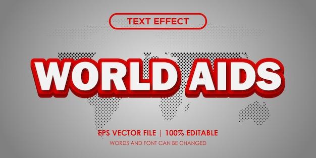 Efeito de texto world aids editável