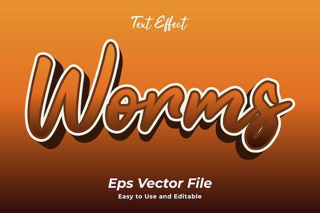 Efeito de texto worms fácil de usar e editável vetor premium