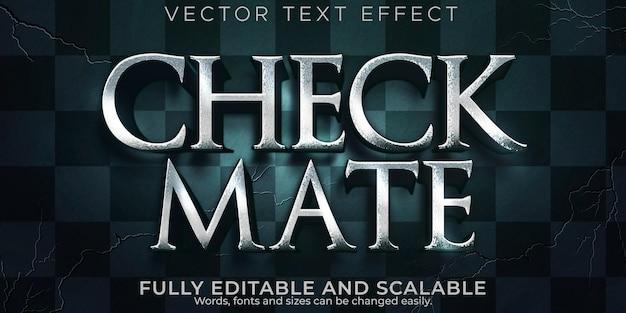 Efeito de texto xeque-mate de xadrez, épico editável e estilo de texto de jogo