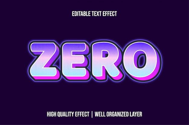 Efeito de texto zero futurista moderno estilo negrito