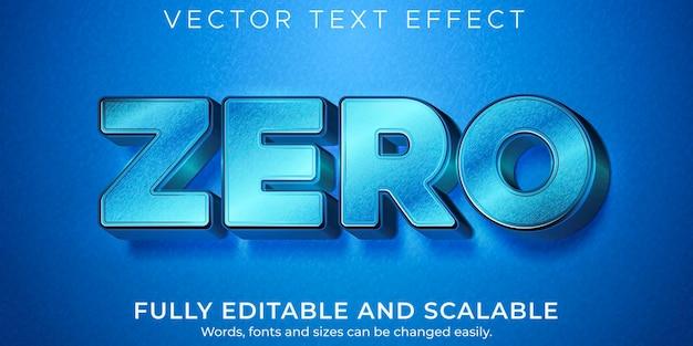 Efeito de texto zero metálico, estilo de texto editável brilhante e elegante