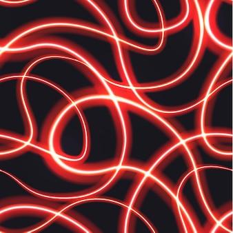 Efeito de trilha embaçada de néon vermelho em movimento em fundo escuro, padrão sem emenda
