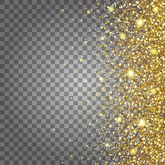 Efeito de voar peças ouro glitter luxo rico design plano de fundo. luz de fundo cinza do lado. stardust desencadeia a explosão em um fundo transparente