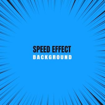 Efeito de zoom de movimento rápido em um fundo azul em quadrinhos.