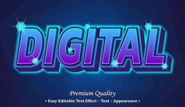 Efeito digital de texto editável em 3d