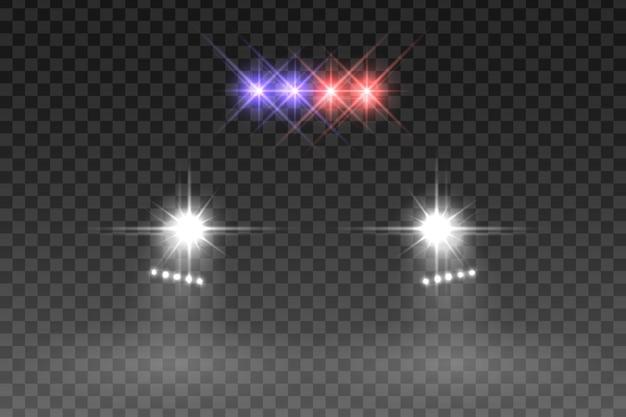 Efeito do flash da luz do carro no fundo transparente. ilustração vetorial