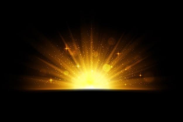 Efeito do nascer do sol cintilante luminoso