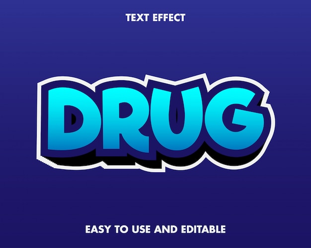 Efeito do texto da droga. fácil de usar e editável. prêmio