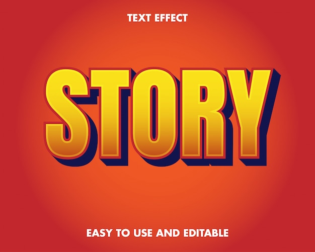 Efeito do texto da história. fácil de usar e editável. ilustração vetorial. vetor premium