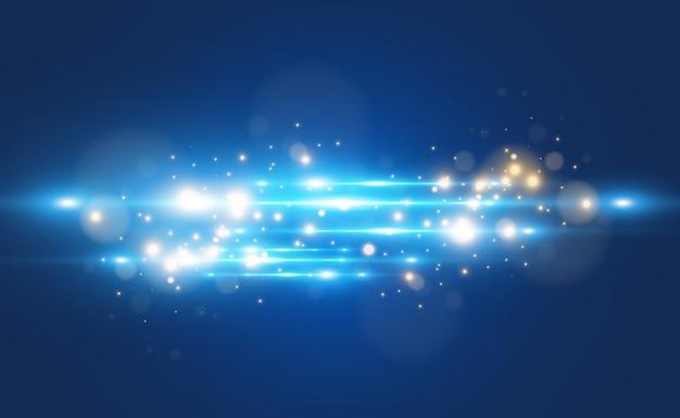Efeito especial azul claro brilhando lindas linhas brilhantes