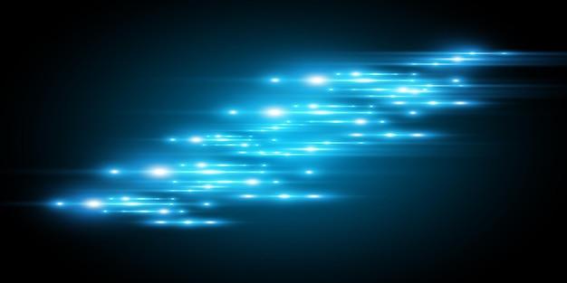 Efeito especial azul claro. brilhando lindas linhas brilhantes