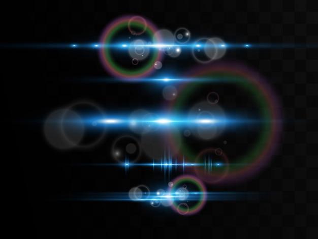 Efeito especial azul claro. brilhantes belas linhas brilhantes sobre um fundo escuro.