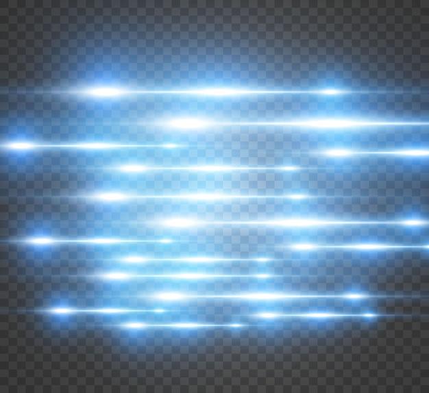 Efeito especial azul claro do vetor. listras brilhantes brilhantes em um fundo transparente.